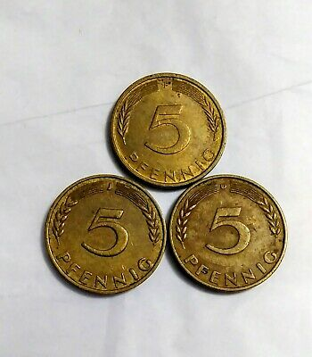 3 OLDER 5 PFENNIG COINS from EAST GERMANY 1948, 1949 /& 1950
