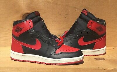 wholesale dealer 9161b 4422a Vintage 1985 Nike Air Jordan 1 BRED Chicago Flight Force Size 7.5 Read Ad