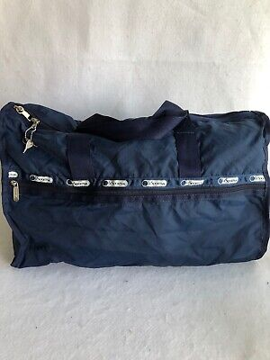 Lesportsac Solid Blue Navy Weekender Duffel Bag Crossbody Gym Travel Tote EUC