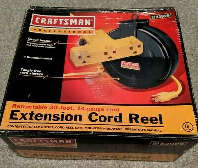 Genuine Craftsman Professional Heavy Duty Retractable 30Ft 14-Ga 3-Out Cord Reel