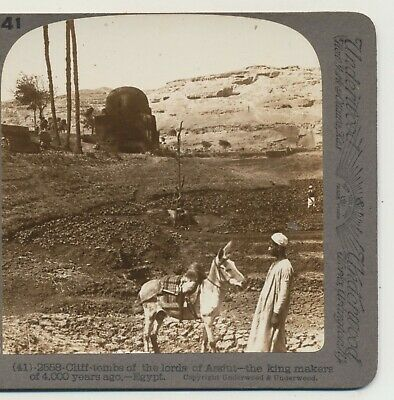 Cliff Tombs of the Lords at Assiut King Makers Egypt Underwood Stereoview c1900