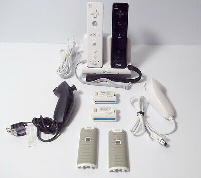 Genuine 2 Nintendo Wii Remote + Nunchuk Controller with Nyko Charging Station