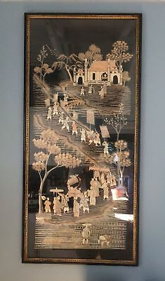 Antique Vietnamese Silk Embroidery Embroidered Panel Hand Woven