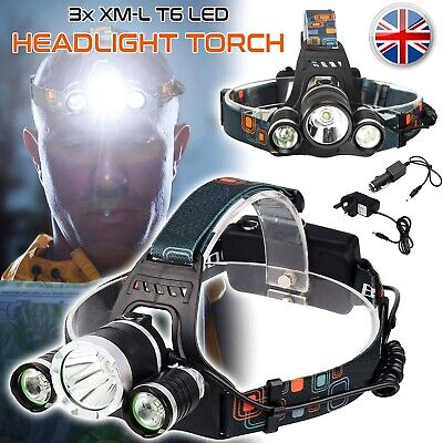 12000Lm 3 LED Headlight Torch Cree T6 Running Rechargeable Headlamp Head Light