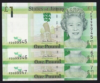 States of Jersey One Pound 2011 Banknotes P-32a Consecutive Trio UNC