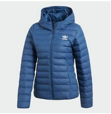 6f475a8c2d060 Adidas Originals Slim Padded Hooded Quilted Puffer Jacket Blue Tech steel  14 Med