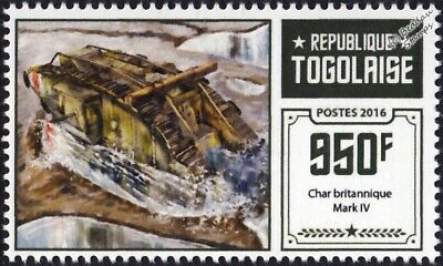 WWI British Army Mark IV Male Tank Stamp #1 (2016 Togo)
