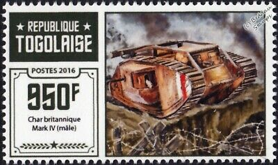 WWI British Army Mark IV Male Tank Stamp #2 (2016 Togo)