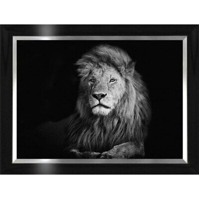 BLACK&WHITE LION  Framed Photo Picture Print Wall Art Canvas Wall Decor Ready to