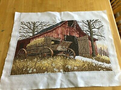 Barn Wagon Tree Cross Stitch Embroidery Completed Beautiful workmanship