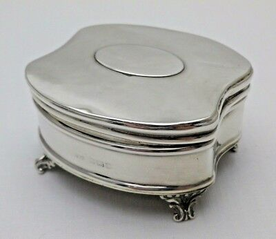 Antique Solid Sterling Silver Jewellery Ring Box on Four Feet B'Ham 1910