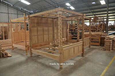 TEAK  WOOD Super King size 6' Raw Natural finish Four poster canopy Tudor Bed