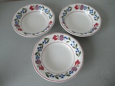 "Adams - Old Colonial - 3 x rare 5.75"" diameter, shallow berry or fruit bowls"