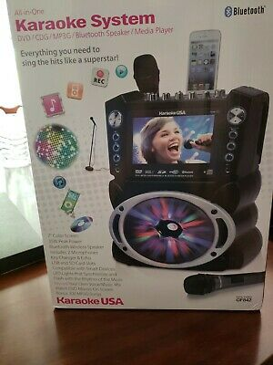 """Karaoke GF842 DVD/CDG/MP3G Karaoke System with 7"""" TFT Color Screen, Record, and"""
