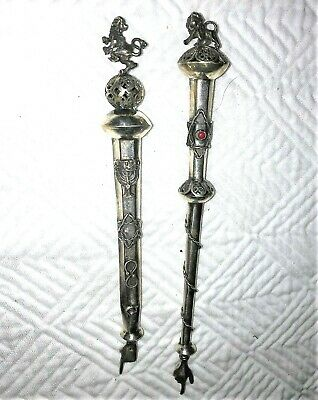 Two (2) Antique Russian Sterling Silver Torah Pointer Judaica  Pointers