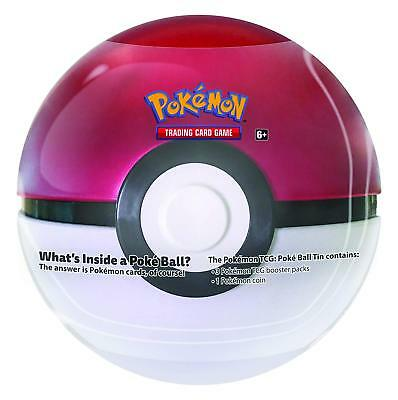 Pokemon Tcg 2018 Poke Ball Tin Red/white With 3 Booster Packs + Coin