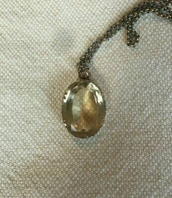 Antique Late Georgian Early Victorian Gold Large Citrine Pendant Necklace c 1830