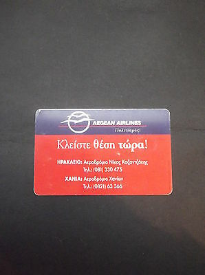 GRECE X0811 09/99 35000pcs Aegean airlines - red GRIECHENLAND GRECIA GREECE CARD