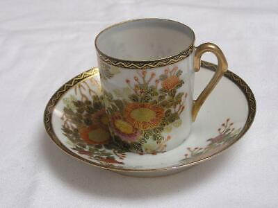 """Antique Japanese Kutani cup and saucer marked """"Nisshin"""" 1920s handpainted #C0058"""