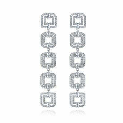 Shiny Silver Tone Sparkling CZ Pave Deco Style Square Stations Long Earrings