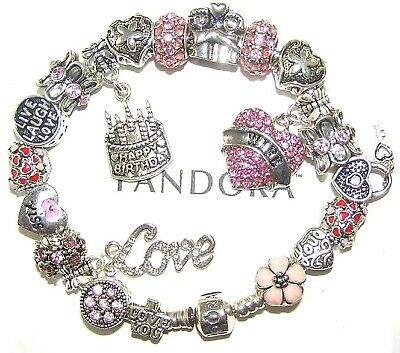 8a853f56f Authentic Pandora Silver Bracelet with WIFE BIRTHDAY, LOVE, PINK European  Charms