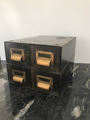 Roneo Vintage 4 Drawer Metal Filing Cabinet Industrial military Storage Card.