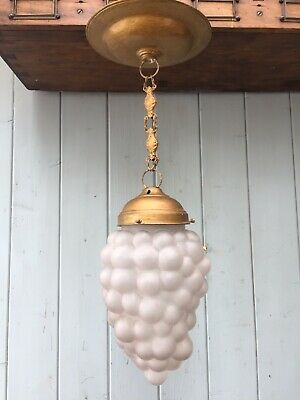 Antique French Glass Grape Ceiling Pendant Lamp Light Brass Chandelier Chain