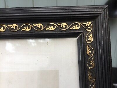 Antique French Picture Wood Black Gilt Frame Religious Print Mary Boumard Paris