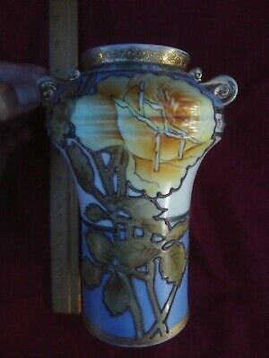 Hand Painted Japanese Nippon Moriage   Beaded Floral Vase