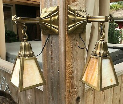 PAIR Antique Arts and Crafts or Mission Slag Glass Sconces Hanging Light Fixture