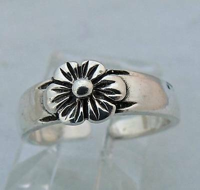 FLOWER Sterling Silver 0.925 Estate TOE BAND RING size 3 up adjustable