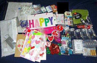CRAFT SUPPLIES LOT New Used Vintage Arts Crafts Storage Paint Glitter Sewing Etc