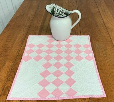 County Cottage! c 30s Pink Checkerboard QUILT Table Doll 19 x 15 Vintage