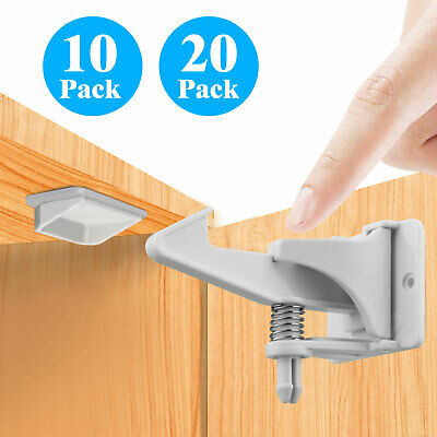 Cabinet Locks Child Safety Latch Baby Home Proof Lock Drawer 10/20 Pack White US