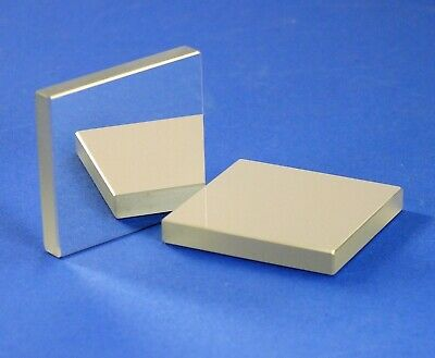 Lot of 2 ea. Enhanced Alum First Surface Mirrors: 35x32mm, 5mm thk (NOS, optics