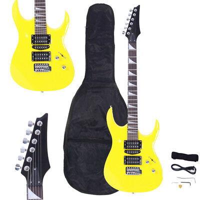 New Burning Fire Yellow Basswood 22 Frets Practice Electric Guitar for Beginner