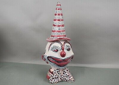 Fratelli Fanciullacci Ceramic Clown Sculpture Italy Mid Century Modern Red Pink
