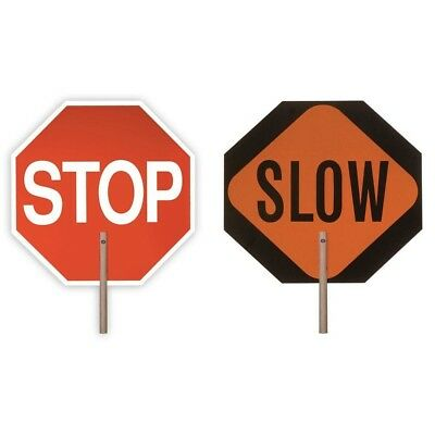 18 in. Handheld Stop Slow Paddle Sign Traffic Crossing Guard Construction Board