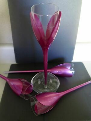 Moet & Chandon Tulip Champagne Flutes Glass Pink Rose Set Of Four