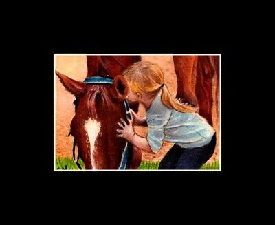 """original aceo"""" girl kissing her horse """" miniature  painting nadia"""
