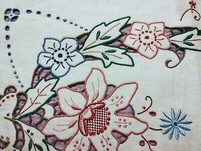 "Amazing Rust Coral Blue Floral Embroidered /Cutwork Madeira Linen Runner 28""x13"""