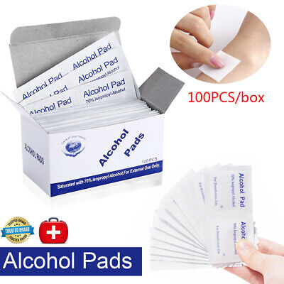 100pcs Disposable Alcohol Pads Nail Cleaner Antimicrobial Prep Pad Swabs Wipes
