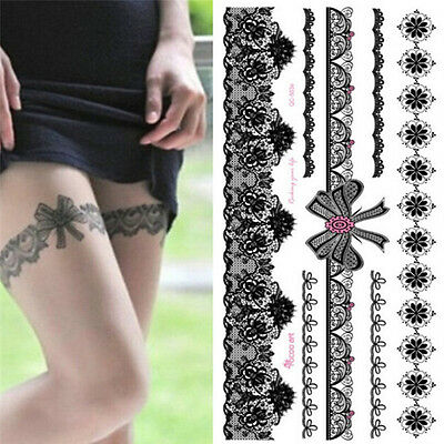 Waterproof  Tattoo Temporary Sticker on Body Leg Transfer Lace Stocking TaSC