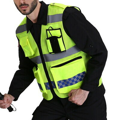 Mens Fluorescent Yellow Safety Reflective Vest High Visibility Workout Waistcoat