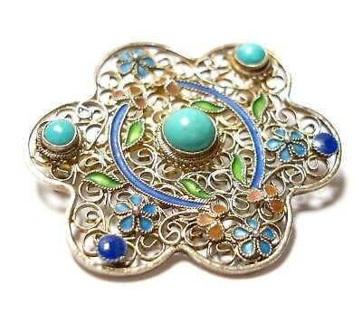 Beautiful Vintage Or Antique Chinese Silver Turquoise & Enamel Brooch Pin