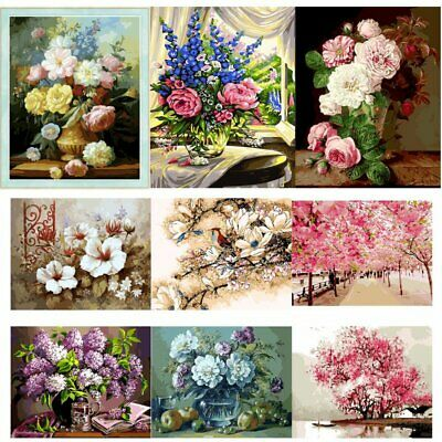 DIY Blossoms Canvas Digital Oil Painting Kits Paint by Numbers Wall Home Decor