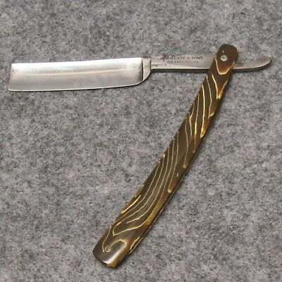 "W. R. Case & Sons Bradford PA 6"" Straight Razor Marble Swirl Celluloid Handles"