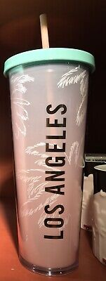 Starbucks Cold Cup Tumbler + Gift Card LOS ANGELES Summer 2019 Palm Trees NEW
