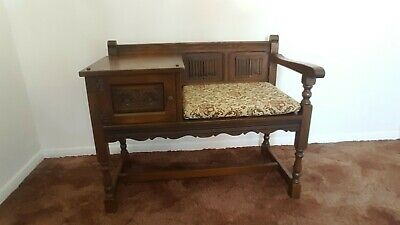 VINTAGE OLD CHARM OAK Telephone Table With Cupboard, Seat & Original Cushion