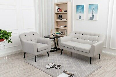 WestWood Armchair Sofa 1/2 Seater Settee Couch Tub Chair Fabric Button Back Grey